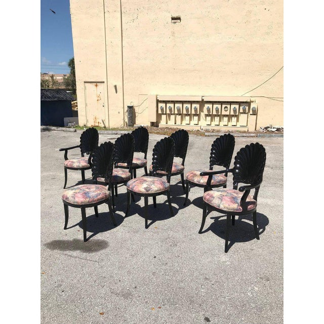 1940s 1940s Vintage Italian Ebonized Venetian Grotto Shell Back Dining Chairs- Set of 8 For Sale - Image 5 of 13