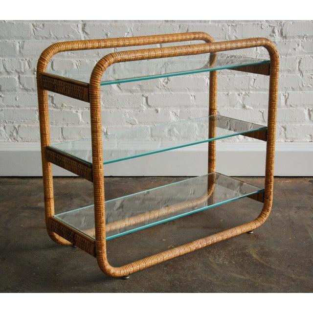Tan Circa 1970, Mid-Century Modern, Rattan, Glass, Étagère For Sale - Image 8 of 8