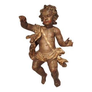 Large 18th Century Polychrome and Giltwood Cherub From Italy For Sale