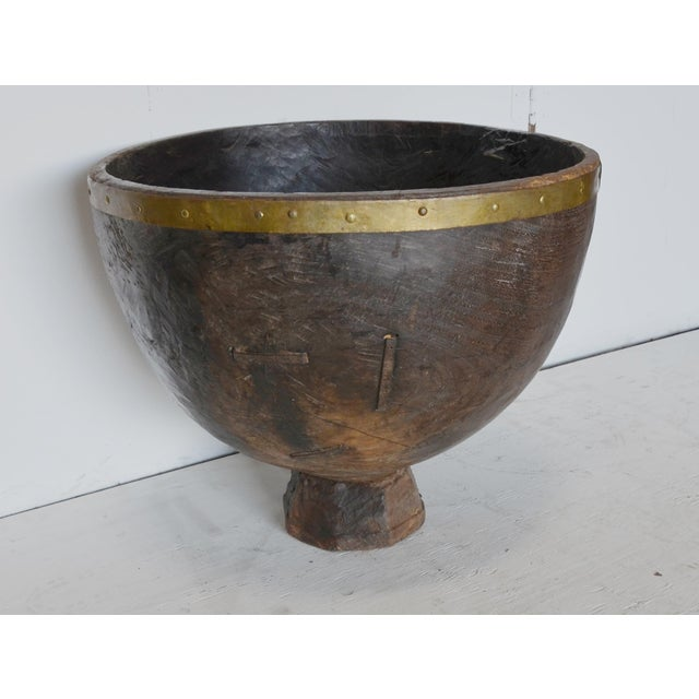 1950s Antique Primitive Wood Planter With Brass For Sale - Image 5 of 6