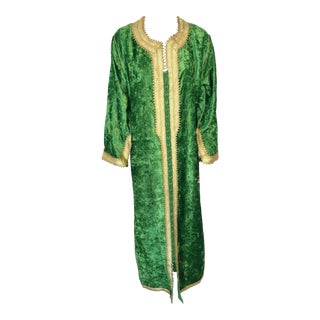 Moroccan Vintage Kaftan Jade Green Velvet and Gold Embroidered Caftan Circa 1970 For Sale