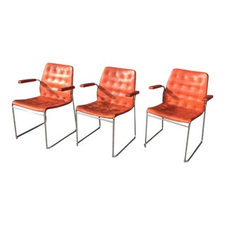 Vintage Bruno Mathsson Red Leather Mio Chairs- a Pair For Sale