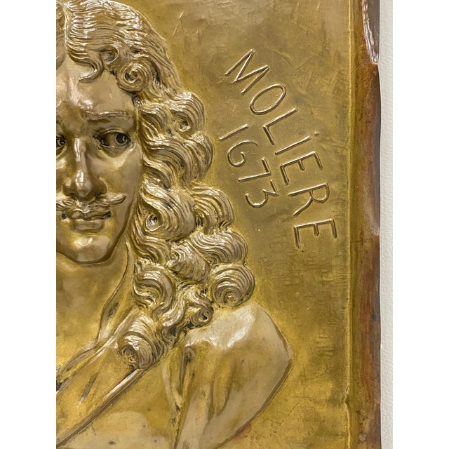 Handmade Brass Plaque of Poet Moliere For Sale - Image 4 of 8