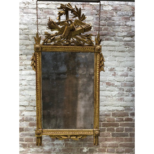 Glass Louis XVI 18th Century Mirror With Two Birds in the Crest For Sale - Image 7 of 8