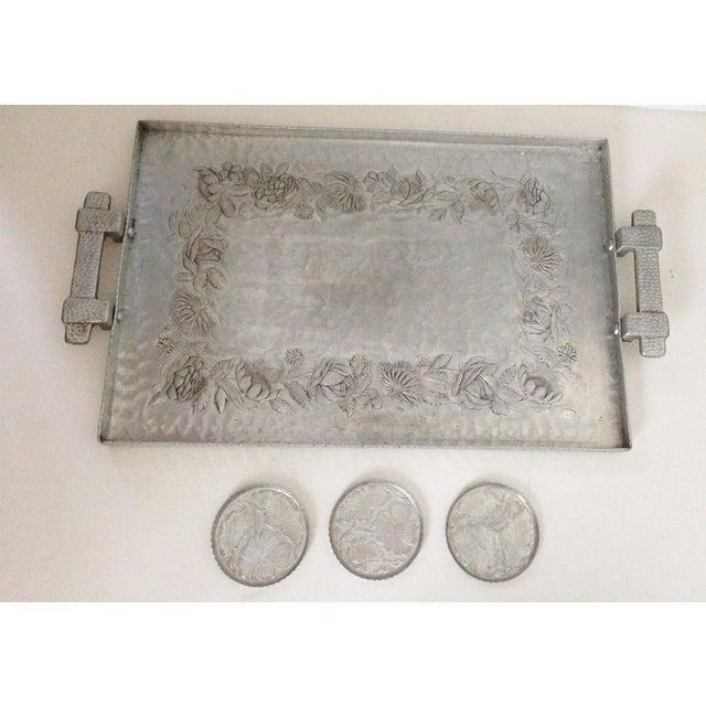 Hammered Aluminum Tray & Coasters - Set of 4 - Image 2 of 7