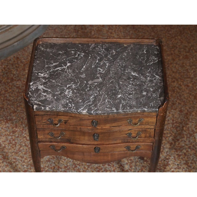 19th Century French Walnut and Marble Side Table For Sale - Image 4 of 9