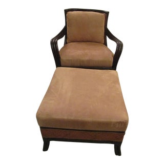 Contemporary Bamboo and Woven Wicker Chair and Ottoman - 2 Pieces