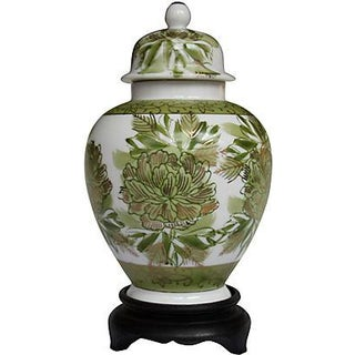 Petite Green Ginger Jar with Stand
