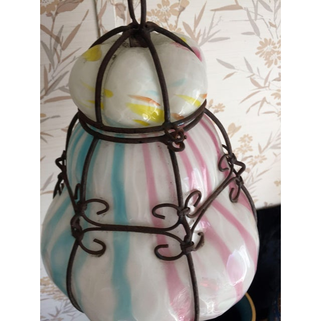 1960s Vintage Murano Caged Glass Pendant Lanterns in Pink and Turquoise For Sale - Image 12 of 12