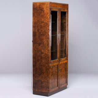 Widdicomb Mid Century Dark Olive Wood Tall Glass Front Cabinet Preview