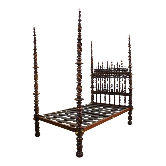17th Century Portuguese Carved and Turned Bed For Sale