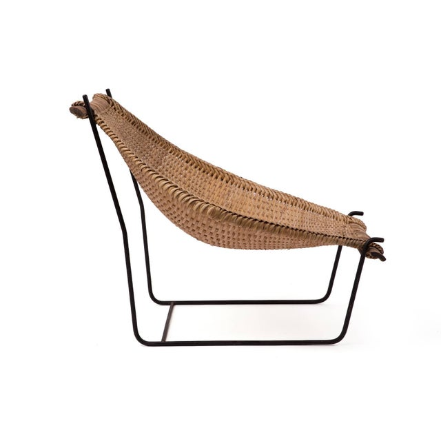 John Risley John Risley Wicker and Iron Chaise For Sale - Image 4 of 7