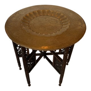 Round Moroccan Tray End Table For Sale