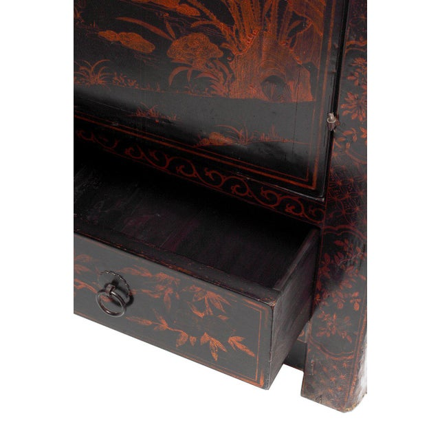 Black Lacquered Cabinet with Hand-Painted Landscape from China, 19th Century For Sale - Image 4 of 6