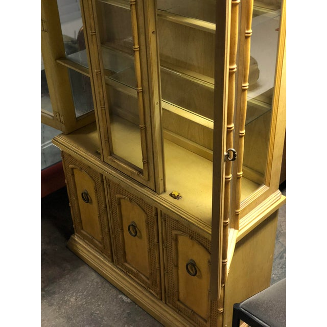 Vintage Yellow Faux Bamboo China Cabinet For Sale - Image 10 of 13