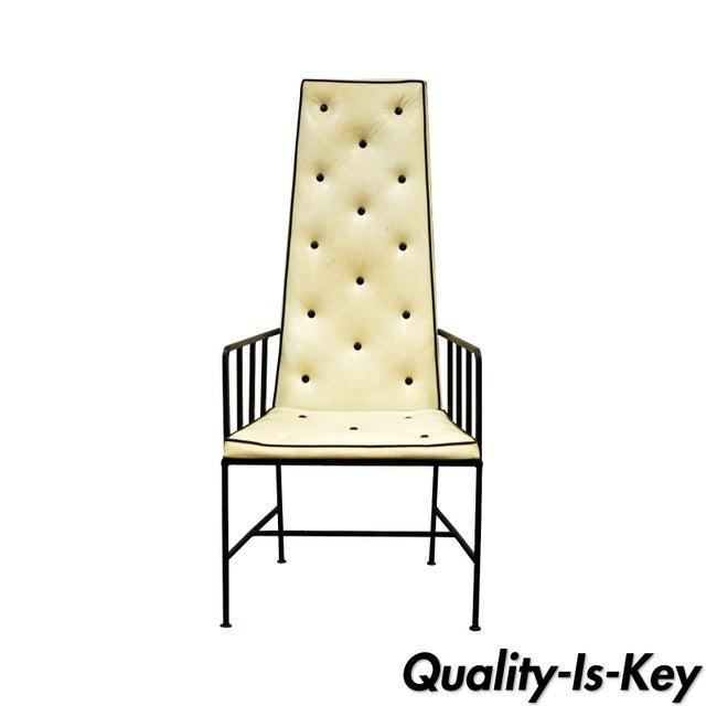 Vintage Mid Century Modern Wrought Iron Arthur Umanoff Paul McCobb Arm Chair For Sale - Image 11 of 11