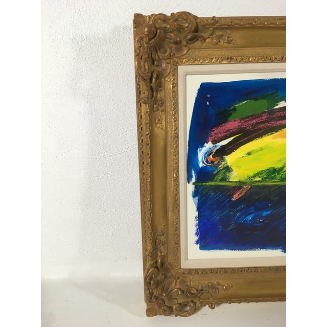 Abstract Framed Abstract Acrylic on Paper For Sale - Image 3 of 7
