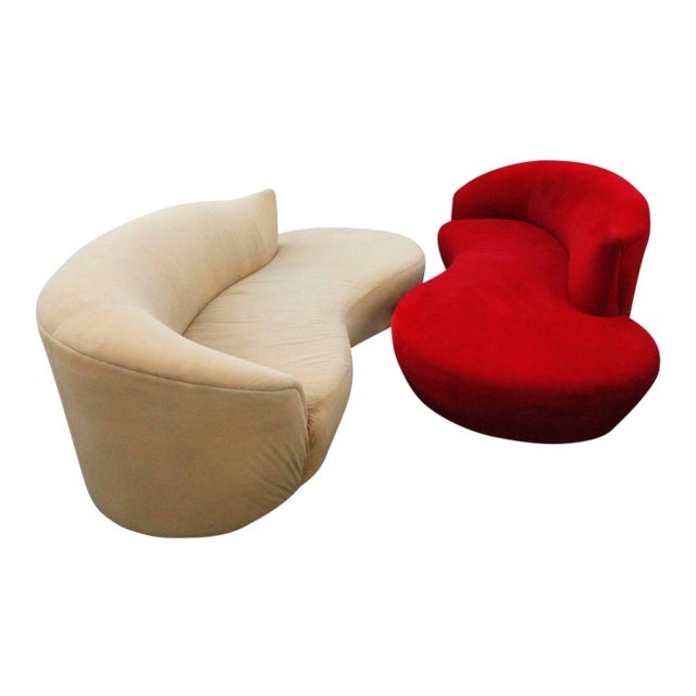 Curved Kidney Chrome Ultrasuede Sofas - A Pair For Sale