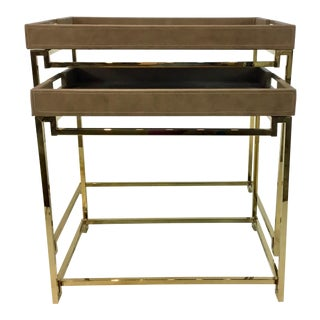 Modern Caracole In/Out Box Taupe Leather Nesting Tables Set of Two For Sale
