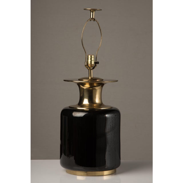 Metal 1980s Modern Chapman Black Ceramic and Brass Lamp For Sale - Image 7 of 7