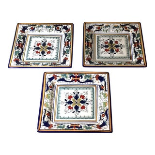 "Florenza Espana Lifestyle 11"" Square Dinner Plates - Set of 3 For Sale"