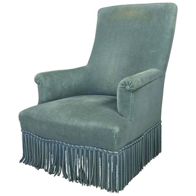 19th Century French Faded Blue Velvet Armchair - Image 11 of 11