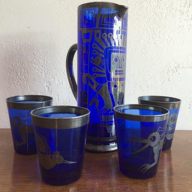 Mid-Century Modern Mid Century Cobalt Blue Mixer Set w/ Aztec Motif - 5 Piece Set For Sale - Image 3 of 9