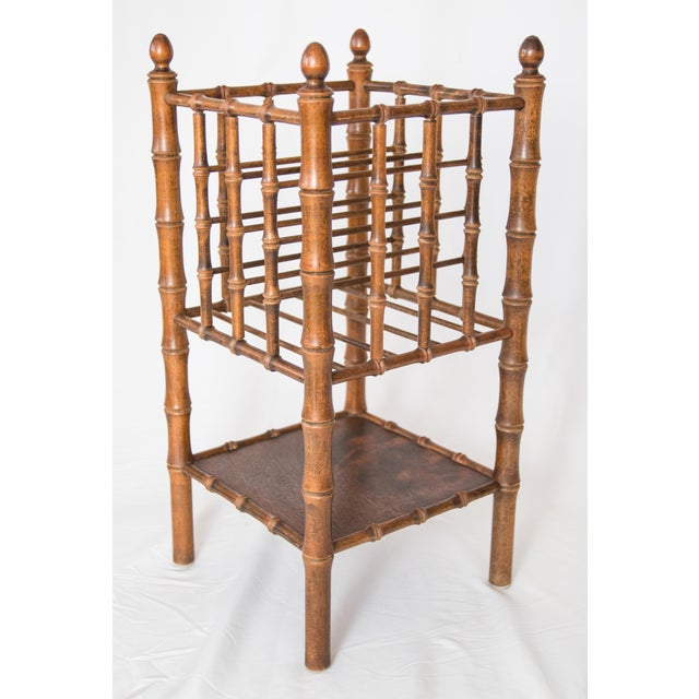 Brown Tall Vintage Mid-Century Faux Bamboo Tiered Magazine Rack For Sale - Image 8 of 8