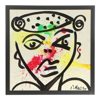 "1995 Peter Robert Keil Untitled ""Portrait"" Oil Painting For Sale"