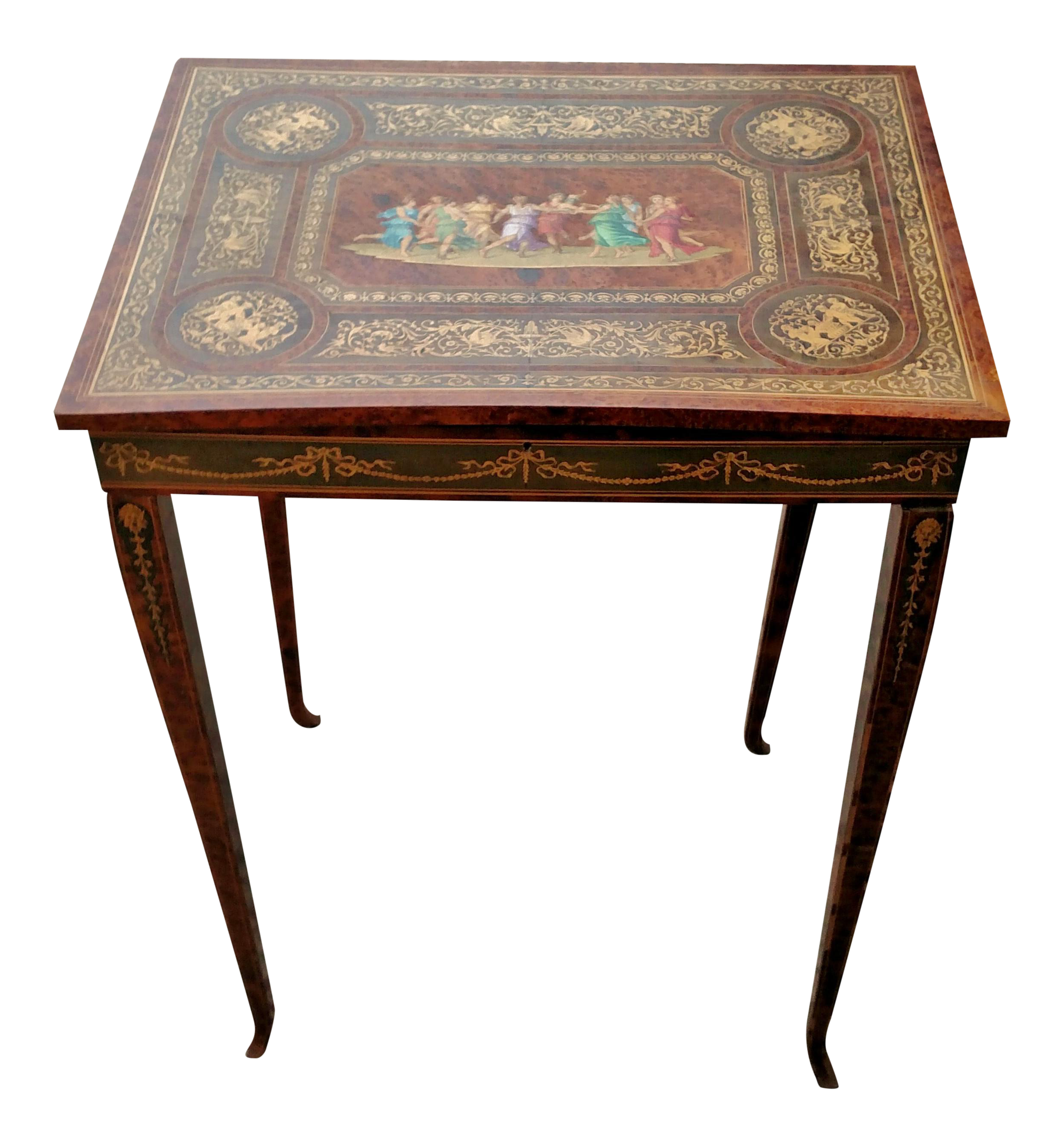 Antique ITALIAN 19th C Amazingly INLAID Lift Top JEWELRY TABLE Specimen  CABINET
