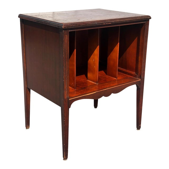 Antique Traditional Mahogany Carved Vinyl Record Cabinet Holder For Sale