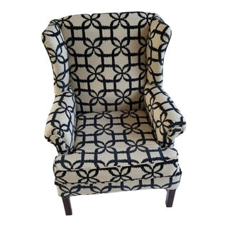 Transitional Bold Pattern Highback Wing Chair