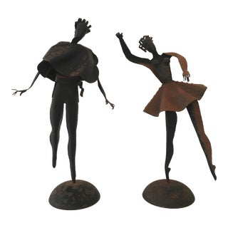 Pair of Metal Dance Figures in Motion For Sale