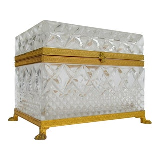 19th. Century French Oversized Cut Crystal Glass & Gilt Footed Jewelry Casket With Bronze Mounts For Sale