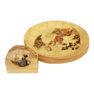 Mid-Century Chinese Bamboo Plates and Coasters - Set of 17 For Sale