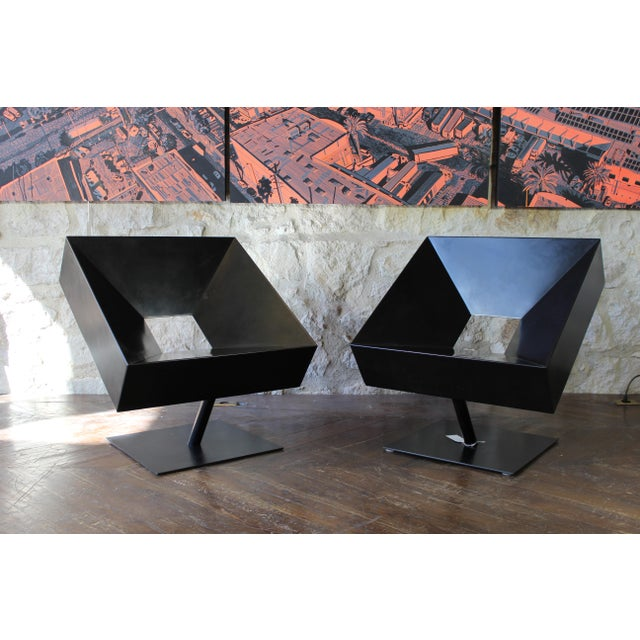 "Brutalist Stephane Ducatteau ""Fauteuils Cadre"" Steel Framed Chair For Sale - Image 3 of 8"