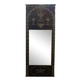 1920s French Empire Style Ebonized and Painted Mirror