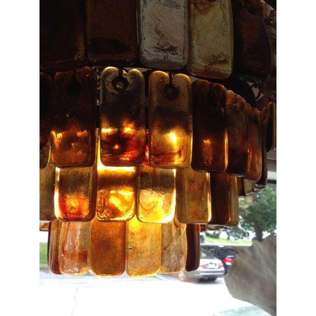Brutalist Feders Brutal Amber Glass Studio Chandelier For Sale - Image 3 of 3