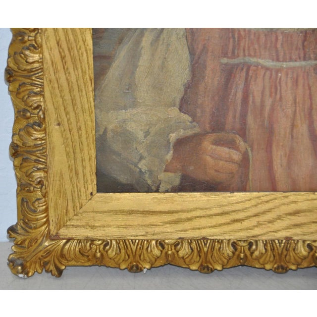 19th Century Oil Portrait of a Young Girl in a Pink Dress Lovely antique oil on canvas of a charming young girl in her...