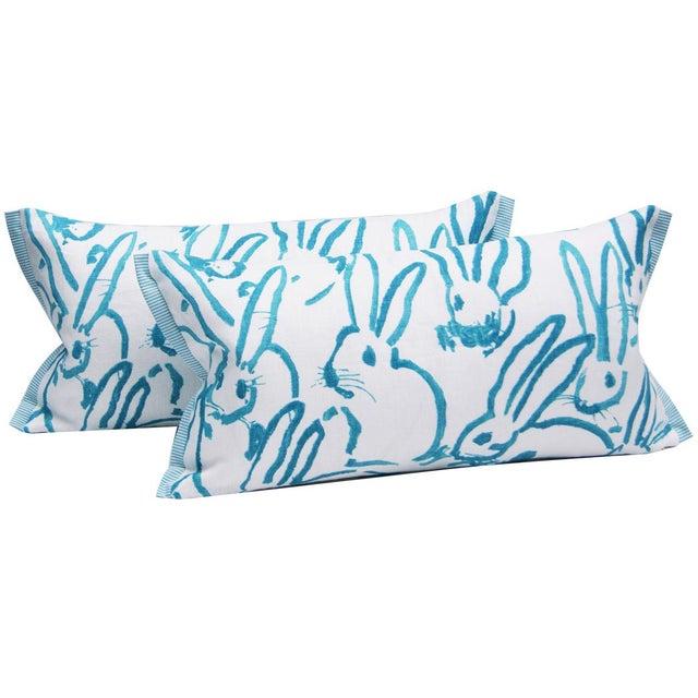 2010s Contemporary Hutch Print Aqua Bunny Fabric Lumbar Pillow - 11x21 For Sale - Image 5 of 7