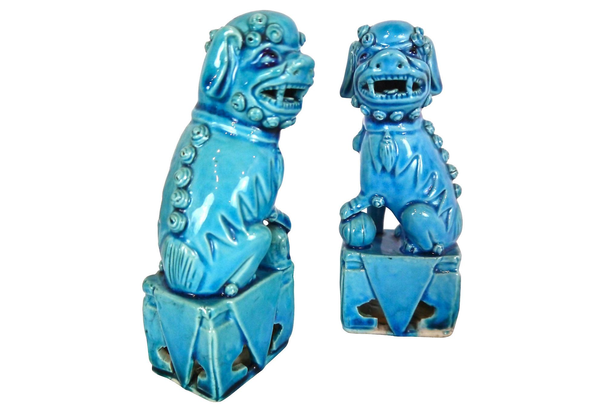 Vintage 1960s Turquoise Blue Ceramic Foo Dogs A Pair