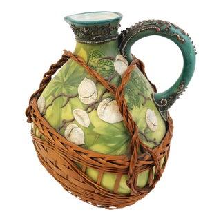 Nippon Japanese Porcelain Ewer, Green & Beige Acorn Motif & Hand-Woven Wicker Surround, 1891-1921
