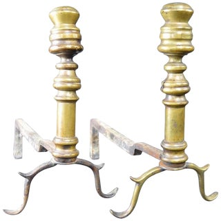 Early Pair of Chippendale Andirons For Sale