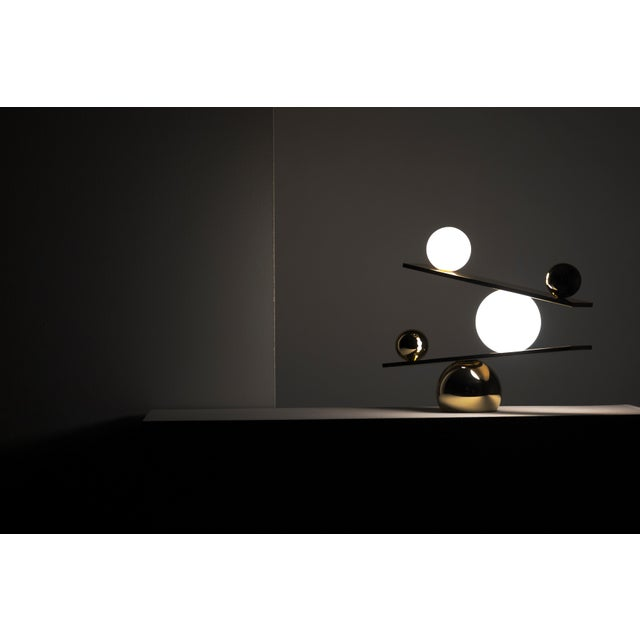 Modern Balance Brass Table Lamp by Victor Castanera For Sale - Image 3 of 9