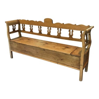 Antique Carved Pine Bench With Storage For Sale