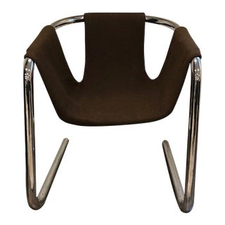 Vintage Vecta Mid-Century Modern Tubular Chrome Brown Wool Sling Chair