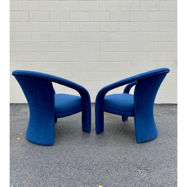 Carsons Carson's Blue Upholstred Sculpture Chairs - a Pair For Sale - Image 4 of 12
