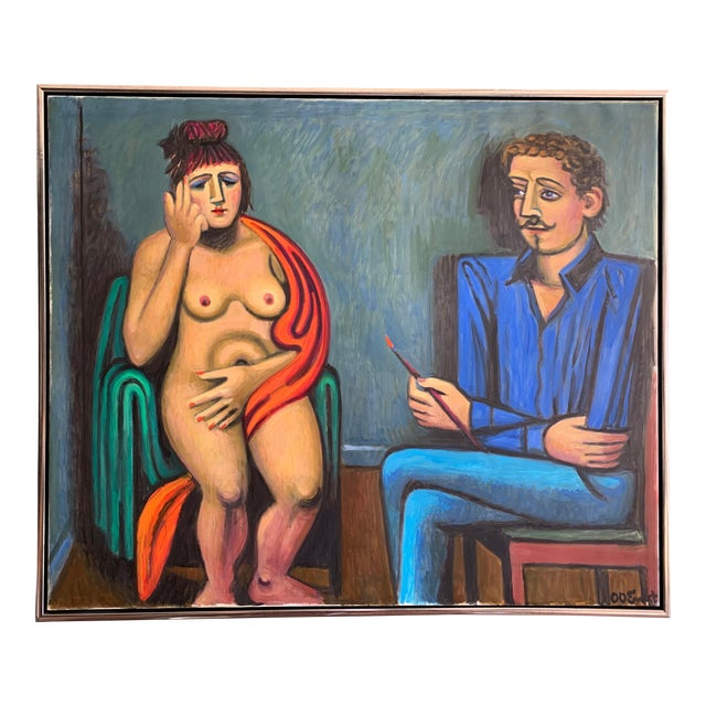 """Artist and Model"" O/C by Ole Otto Ernst, Danish For Sale"