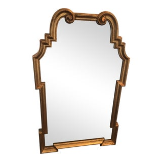 Italian Mid-Century Hollywood Regency Style Carved Giltwood Mirror For Sale