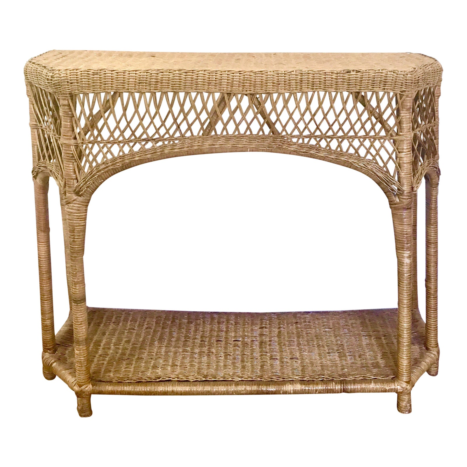 Vintage Wicker Rattan Console Table Chairish